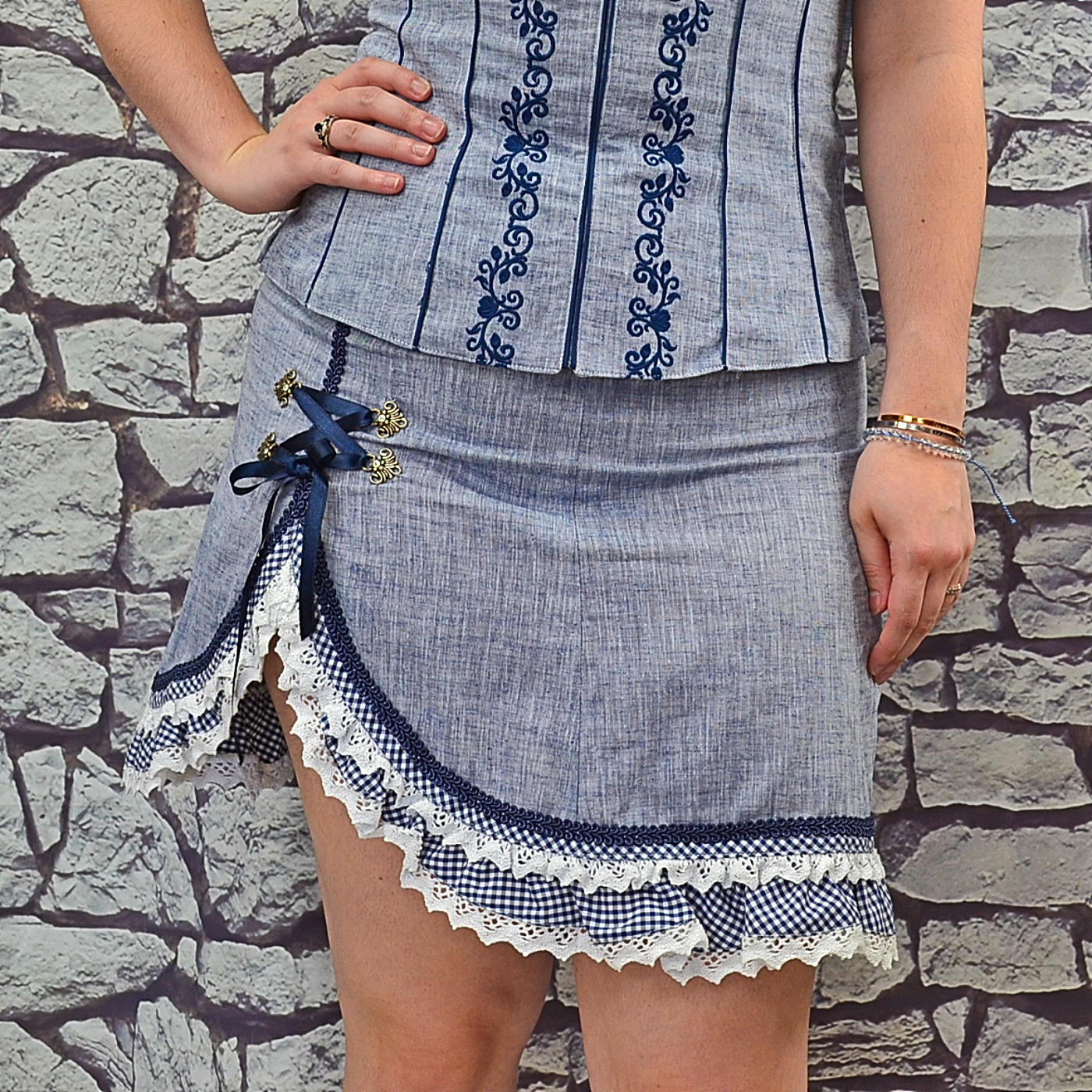 top-rated cheap good texture clearance sale Blue Denim Skirt with Check and Lace Trim