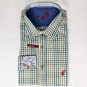 Rinaldo Trachten Shirt Mens Shirt Hunting Forest Long Sleeve Olive Uni and Reeds Check