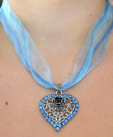 Heart with rose necklace-12889