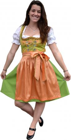 Ladies Apricot and Green Dirndl