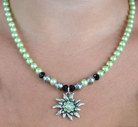 Colorful Beaded Edelweiss Necklace-12325