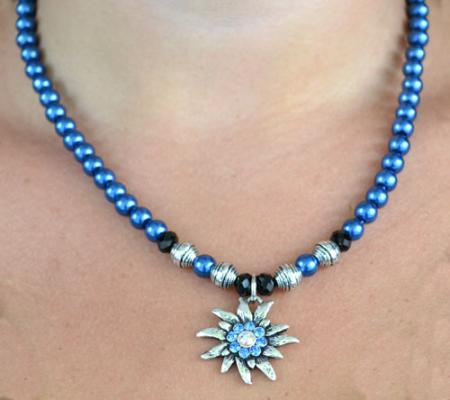 Colorful Beaded Edelweiss Necklace