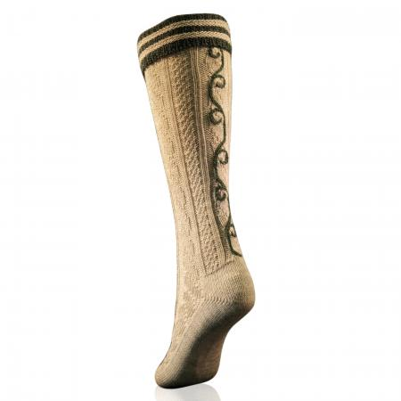 Trachten kneesocks with green stripes and hand embroidery-Gray