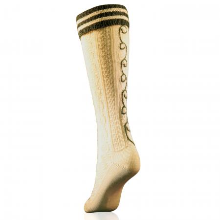 Trachten kneesocks with green stripes and hand embroidery-White
