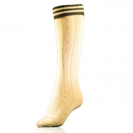 Trachten kneesocks with green stripes-White