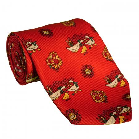 Red Necktie with Floral and Goose Design