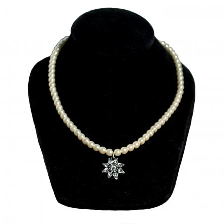Pearl Necklace with Crystal Edelweiss