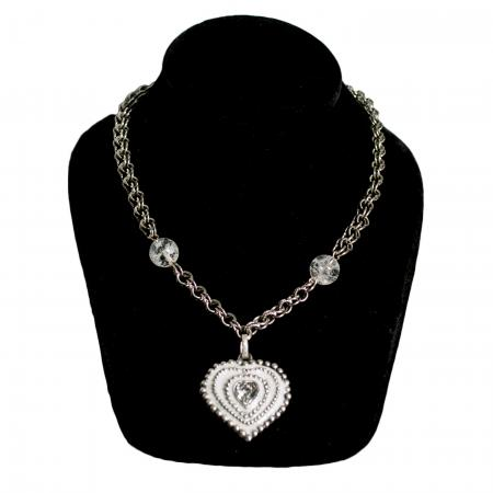 White Painted Heart Necklace with Rhinestone