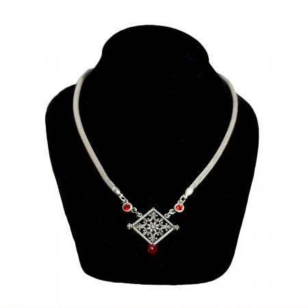 Square Rosette Necklace with Woven Metal Chain
