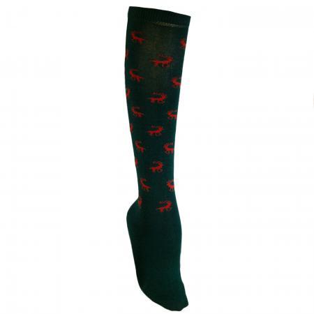 Knee High Stag Socks Green