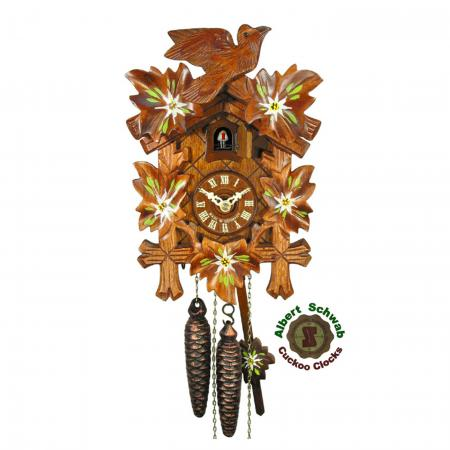 Edelweiss Painted Leaves Cuckoo Clock