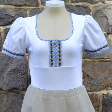 Gingham Trim White Blouse with Heart