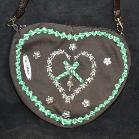 Brown Purse with Green Gingham Trim