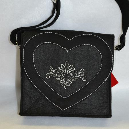 Black Felt Purse with Heart and Embroidery