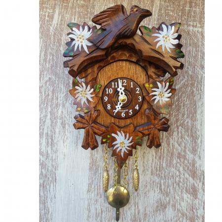Kuckulino Bird with Painted Edelweiss Cuckoo Clock