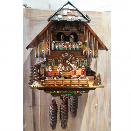 Black Forest Musicians and Dancers Cuckoo Clock