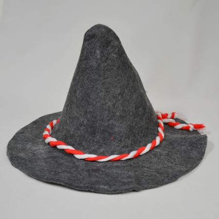 Gray Hat with Red and White Band