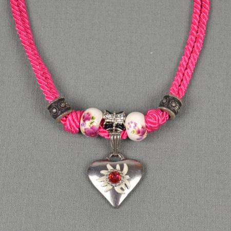 Corded Necklace with Heart Pendant
