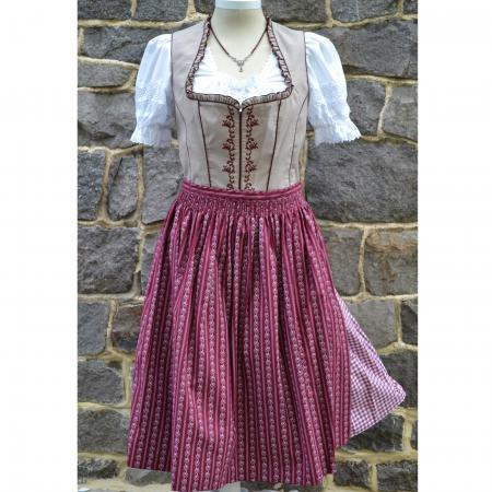 Wine and Tan Dirndl- sizes 16, 18, 22