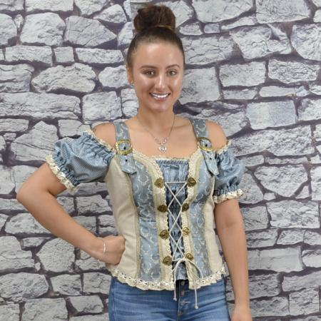Natural Ice Blue German Mieder Blouse
