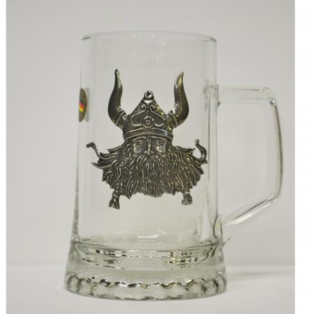 Glass Mug with Pewter Viking