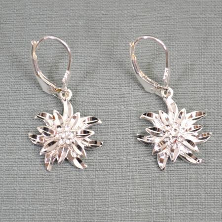 Sterling Silver Edelweiss Dangling Earrings
