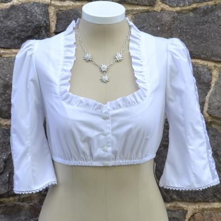 Short Blouse with Sheer Edelweiss Sleeve