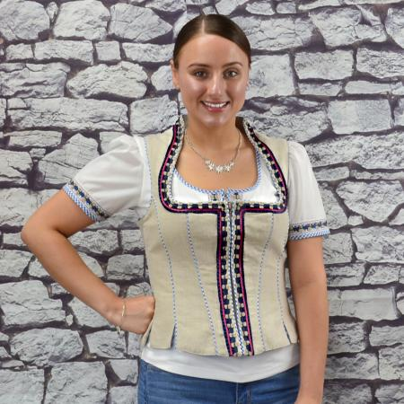 Tan and Blue Checkered Mieder Vest