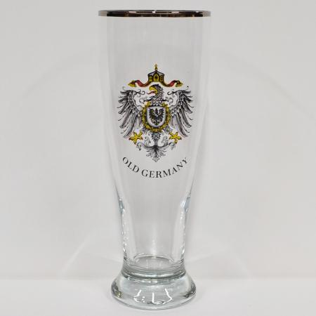 Old Germany Beer Glass with Silver Colored Rim