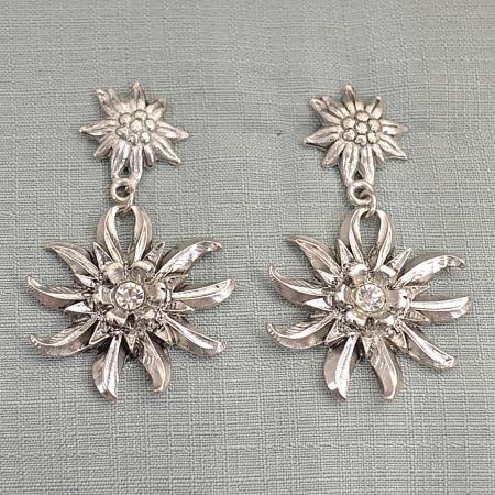 silver edelweiss earring