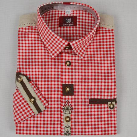 Red Checked Long Sleeve Shirt with Embellishments