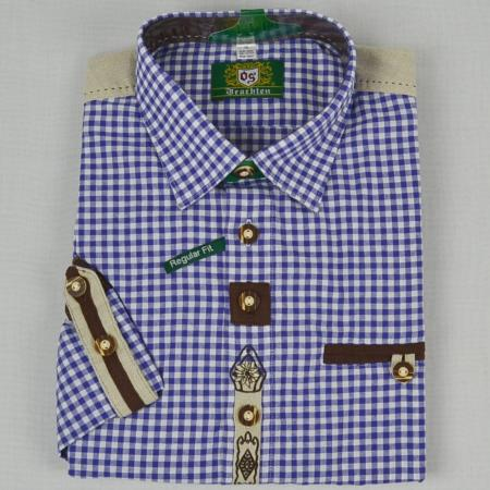Blue Embroidered Checkered Long Sleeve Shirt