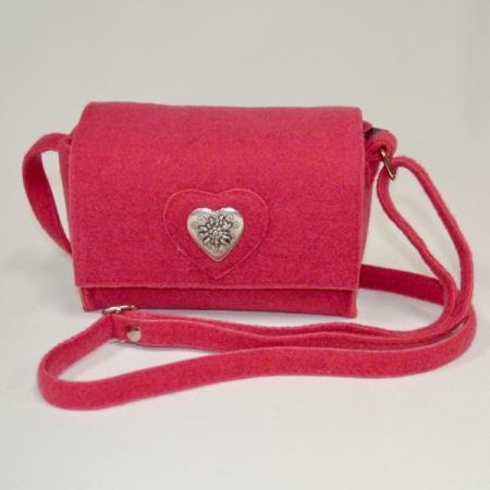 Felt pink edelweiss purse