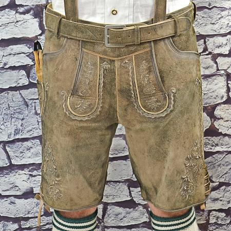 Antiqued brown lederhosen