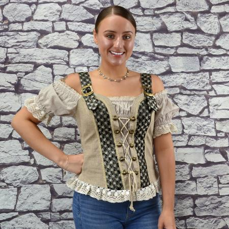 Tan and Black Mieder Blouse