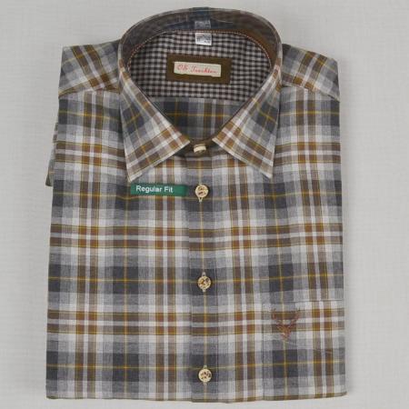 Brown and Gray Long Sleeve Checkered Shirt