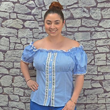 blue blouse full body