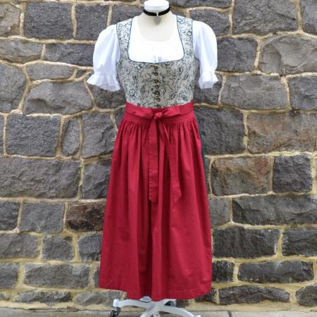 Long Green Floral dirndl with red apron