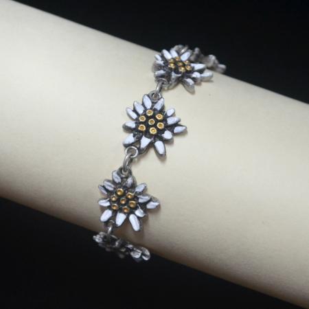 Painted edelweiss bracelet