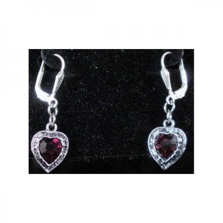 Inlaid Jewel Heart Earrings