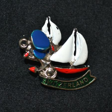 Switzerland with Sailboat hat pin