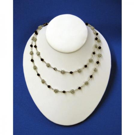 Small Flower and Jewel Chain Necklace