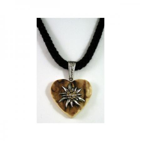 Stag Horn Heart Necklace with Edelweiss