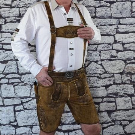 Imported Brown Buffalo Lederhosen with Belt and Suspenders