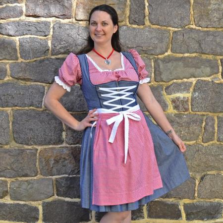 red checkered and denim dirndl