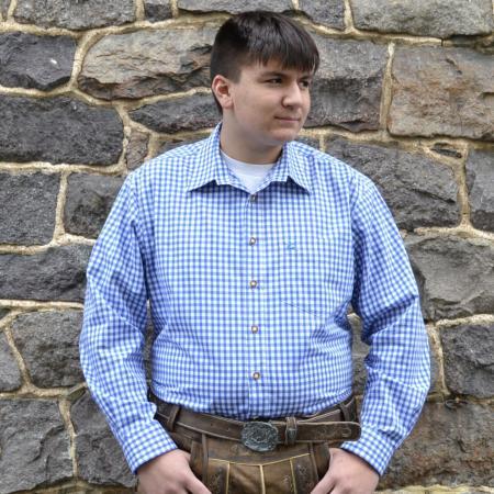 blue checked oktoberfest shirt