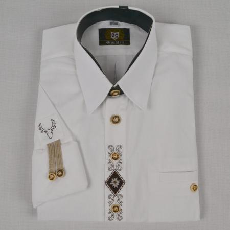 White Linen Shirt with Edelweiss and Stag Embellishments