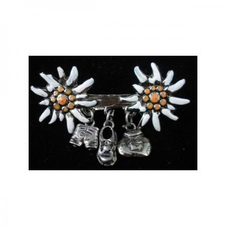 Double Edelweiss Pin with Pendants