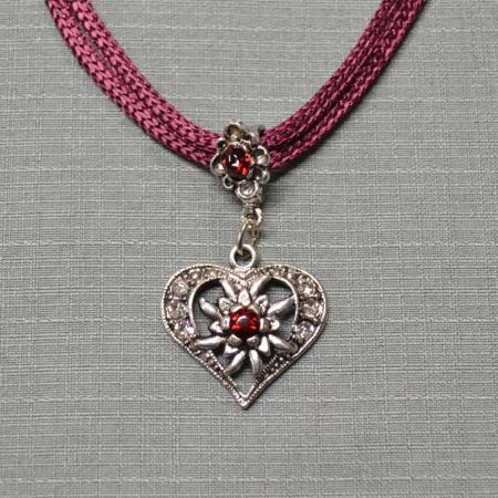 Colored Edelweiss Heart Shaped Necklace