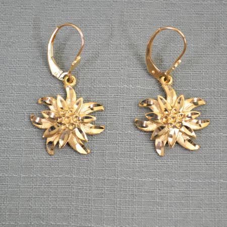 Gold Edelweiss Dangling Earrings